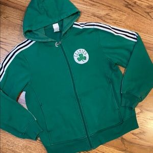 🔰ADIDAS Classic Green 3 Stripe Hoodie w/Pockets